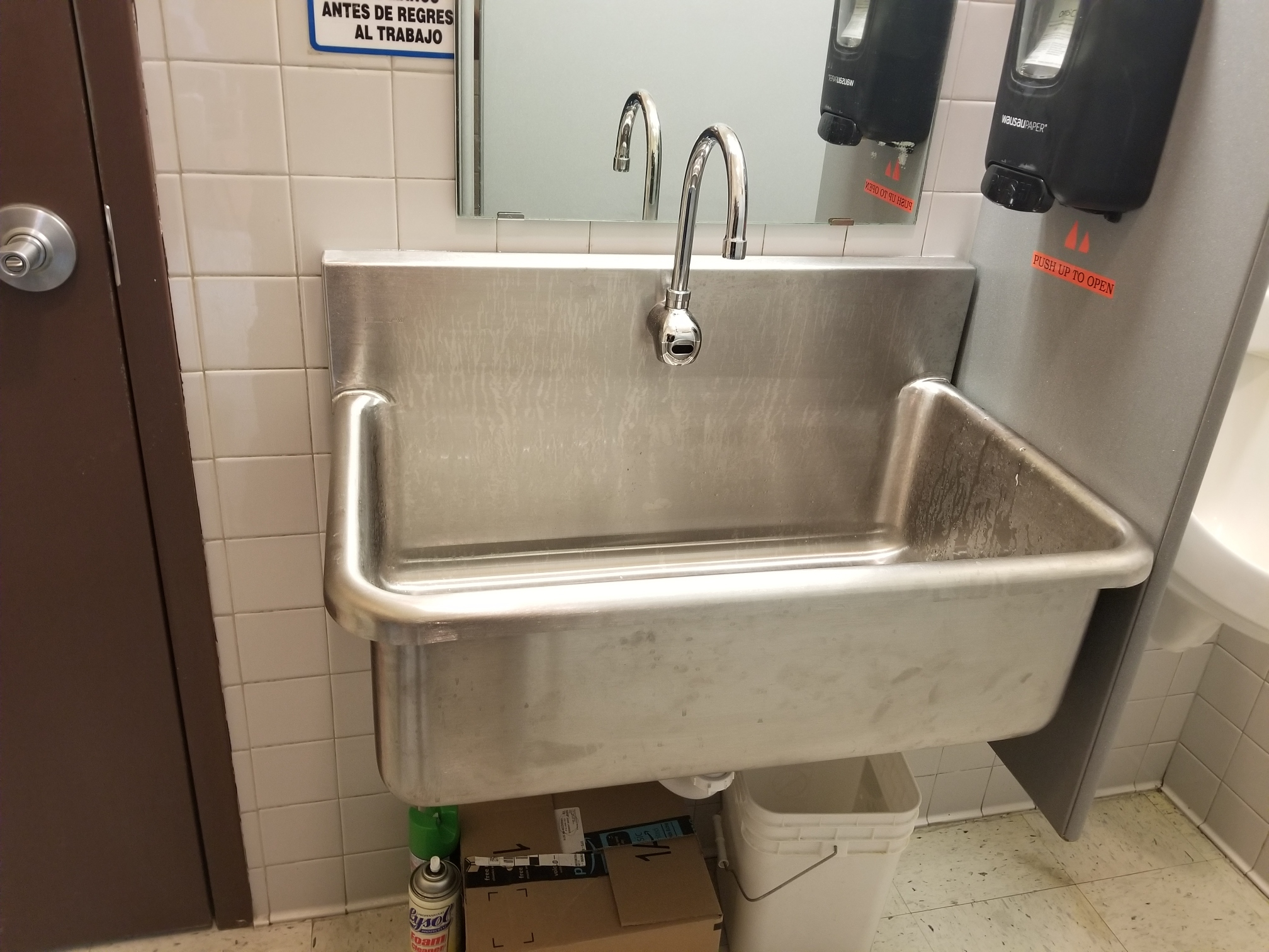 Commercial sink and faucet installation