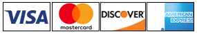 Credit Cards we accept: Visa, MasterCard, Discover, American Express